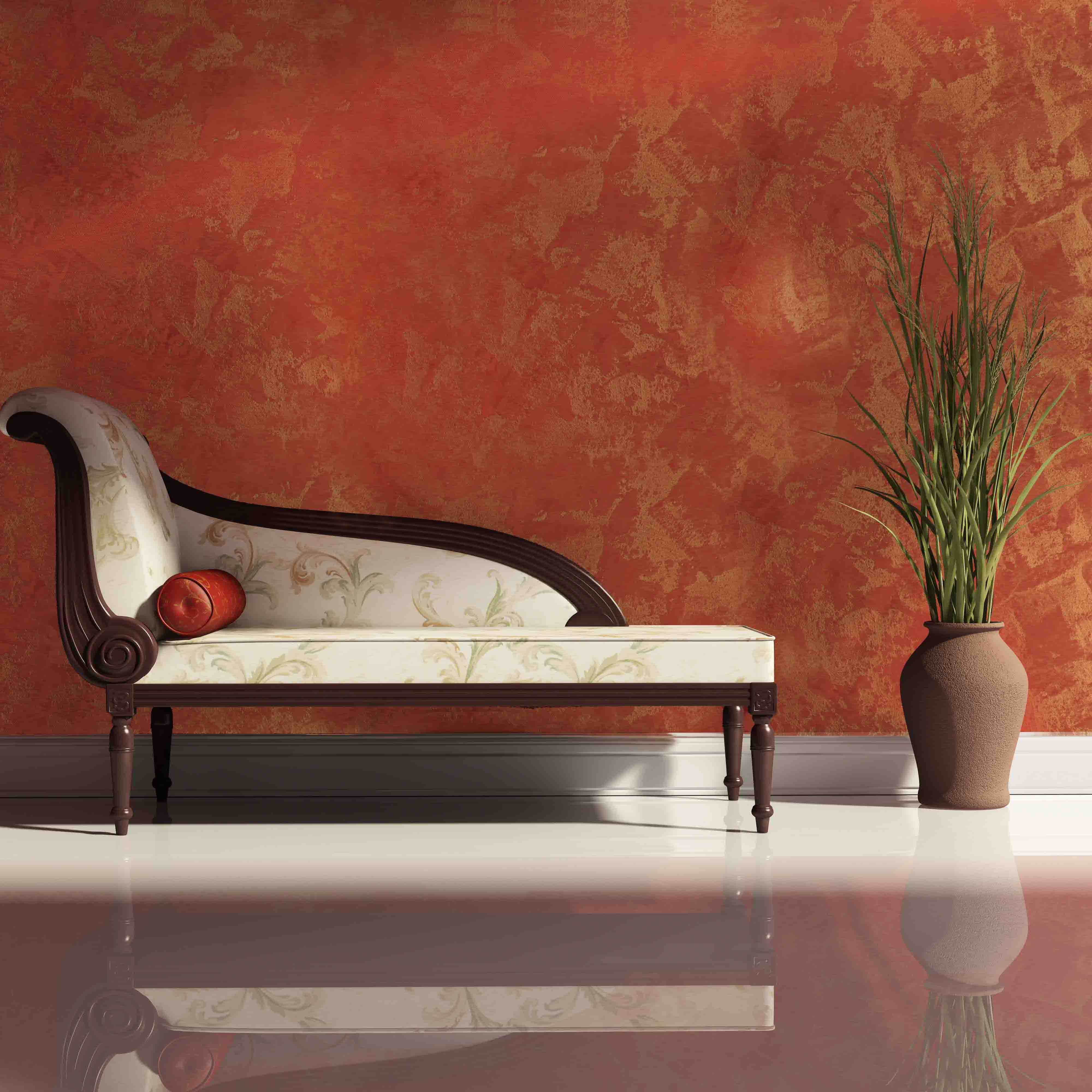 Luxury daybed with cushion, pot, red wall , polished white floor